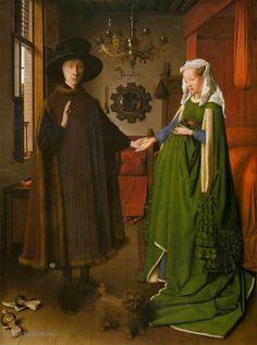 """Painting """"Portret van Giovanni Arnolfini en zijn vrouw"""" by Jan van Eyck - www.schilderijen.nu"""