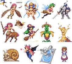 Pixel monster girls sprites by iSohei.deviantart.com on @DeviantArt