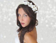 Flower Crown, Hydrangeas, wedding headpiece, head wreath white or Ivory, hair accessories, bridal, flower girl by DeLoop