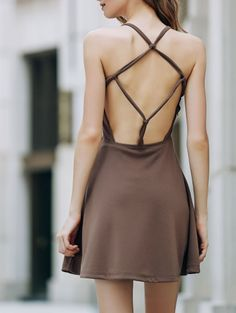 Solid Color Backless Scoop Neck Dress LIGHT BROWN: Fall Dresses 2016 | ZAFUL