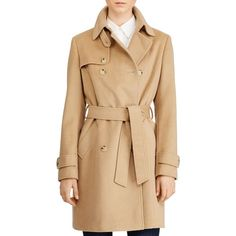 Lauren Ralph Lauren Trench Coat ($300) ❤ liked on Polyvore featuring outerwear, coats, camel, trench coats, beige coat, wool blend trench coat, lauren ralph lauren and beige trench coat