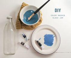 DIY color washed glass jar #DIY #craft #watercolor