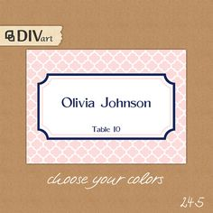 """PRINTABLE 3.5x2.5"""" Place Cards, Escort Cards, Food Labels - pink and navy blue, preppy, nautical or CUSTOM color - quatrefoil - 245 by DIVart"""