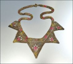 German Enamel Mesh Gold Necklace Art Deco Jewelry   Vintage Jewelry