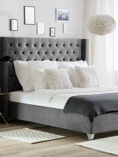 White and Grey British Style Bedroom. Modern Grey Bedroom, Grey Bedroom Decor, Grey Bedroom Furniture, Bedding Master Bedroom, King Bedroom, Grey Bedding, Bedroom Inspo, Grey Velvet Bed, Velvet Bed Frame