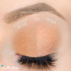 Rosa and Copper Rose ShadowSense side by side comparison.  These long-lasting SeneGence eyeshadows help create envious eye looks.  #eyeshadow #shadowsense