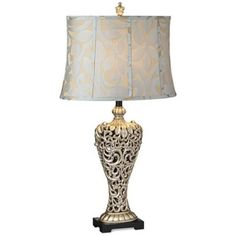 Possini Carved Silver Leaf Table Lamp - bedroom lamp $80