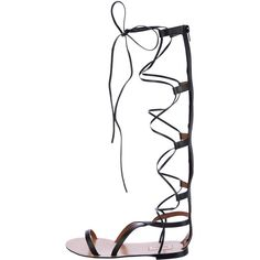 Pre-owned Valentino Leather Gladiator Sandals (€430) ❤ liked on Polyvore featuring shoes, sandals, black, lace-up gladiator sandals, leather lace up sandals, leather gladiator sandals, roman sandals and black stacked heel sandal