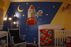 Curious George The Astronaut Nursery Wall Mural Hand Painted Art! We knew we wanted a Curious George the Astronaut Nursery Theme but needed to find just the right focal point for the baby's room. Baby Nursery Themes, Star Nursery, Baby Boy Rooms, Baby Boy Nurseries, Baby Decor, Nursery Ideas, Baby Room, Babies Rooms, Room Boys