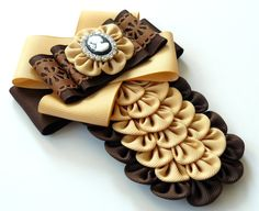 Ladies fabric pin brooch tie. Toffee and brown bow brooch by JuLVa