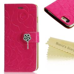 Mavis's Dairy Rose Wallet Case for iPhone 6/6sPlus New!!! iPhone 6s Plus Case ,Mavis's Dairy 3D Handmade special shiny Bling Diamond Rose folia Claps design Pattern leather Credit Card slots wallet case With hand wrist strap. Mavis Accessories Phone Cases