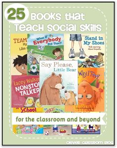 Did you know that social skills are important for a child preparing for kindergarten? Find a book that you can share with your child to help develop the necessary social skills. 25 books that teach social skills. Teaching Social Skills, Social Emotional Learning, Teaching Manners, Emotional Books, Teaching Ideas, Preschool Books, Book Activities, School Social Work, Emotional Development