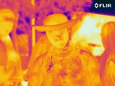 Thermal Camera Picture  Note: This person was in a full body suit concealing his face. The thermal camera is able to reveal the face inside of the costume and the heat this person was harboring inside of his suit.