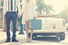Vintage bridal photos- #sarahseven dress and vintage #suitcase. We also love this #vintagecar