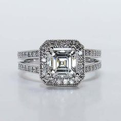 """Take a look at www.Brilliance.com's """"1.32 Asscher Cut Diamond in Halo Setting"""". This Asscher cut diamond perfectly complements the antique style of this setting! Get a free quote at www.brilliance.com/custom-engagement-rings or call us at 866-300-4140!"""
