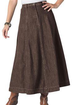 Plus Size Long Denim Skirt (Also Reg sizes) Purchased in Chocolate & Drk Stonewash $19
