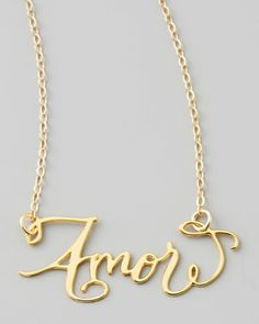Amor Hand-Calligraphed Necklace by Brevity at Neiman Marcus.