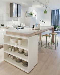 cuisine bois et blanche, plan de travail bois