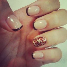 nude and brown french mani with Leopard accent funness. Rowr. #nails
