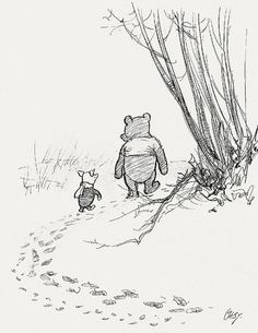 Original Pooh Sketches --- My childhood favorite!!!  -- 'He Went on Tracking, and Piglet ... Ran After Him.' by peacay, via Flickr