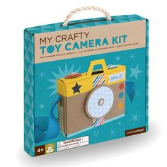 DIY meets play with the Toy Camera Kit. Construct the camera, decorate it, then draw pictures on the included cards.