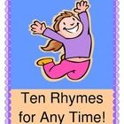 """""""TEN RHYMES AND GAMES FOR ANY TIME!""""  These TEN rhymes and group games will get you through a busy day at school.  Good Morning Time, Clean-Up Time, Snack Time, Make a Friend Time, and yes, even Wiggle Time!  Use rhythm and rhyme to get your kids from 'Point A to Point B', and they will stay focused and 'keep the beat'!  Don't miss this one-- some of my favorite classroom management tools are found here, and there is no singing required!  More fun from Joyful Noises Express TpT!  (10 pages)  $"""