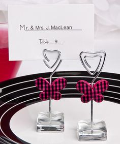 Pink butterfly design place card/photo  holders
