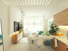 Small apartment design. View from the kitchen