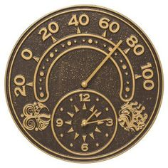 Whitehall Products Sun and Wind 14-in. Indoor/Outdoor Wall Clock and Thermometer Dark Bronze / Gold - 01752