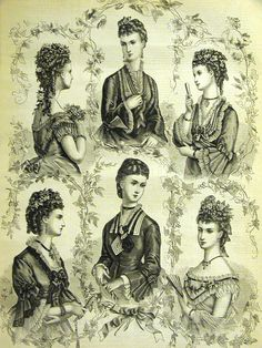Fashion plate showing Victorian modes and hair styles of the 1860s