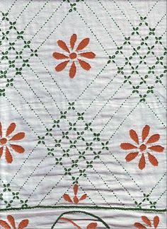 "contemporary Nakshi kantha with flower motif - running stitch called ""kantha stitch"" is the main stitch"