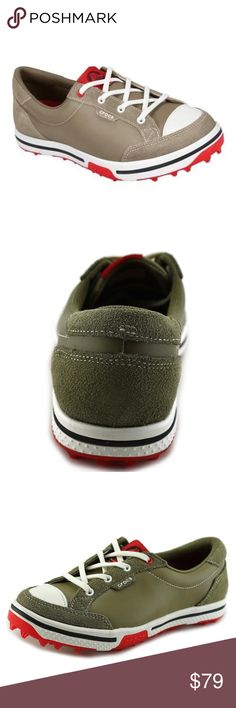New Khaki/Red CROCS Leather Brayden 2.0 Golf Shoes Play golf in style!  Beautiful feminine low-cut design with a secure fit.  Premium leather upper.  Four piece stability system maximizes flexibility without sacrificing traction.  Outrigger tab reduces forefront movement for maximum stability.  Dual-comfort Croslite material inside with ultimate heel cushion and forefoot moisture management.  Croslite material midsole delivers high-energy return and minimal weight for all-day comfort.  Sold…