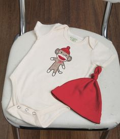 Organic Sock Monkey Bodysuit and Hat Unisex Baby Gift Set- Polkadot Patch; @Patricia Grant-Maidment