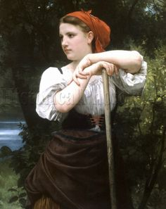 """""""The Haymaker"""" (interpretation of the original title, """"Faneuse"""") was painted with oils on canvas in 1869 by French artist William-Adolphe Bouguereau (1825-1905)"""
