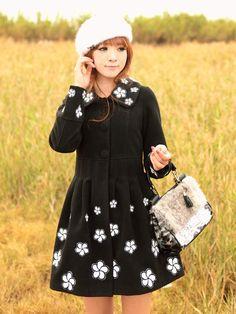 janice little black coat $112 #asianicandy #indiefashion #asianfashion #koreanfashion #kawaii #japanese