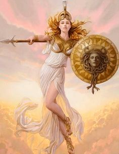 Athena is described as being beautiful, wearing scaled golden armour, helmet and a long dress with a hem of little snakes. Ancient Greek mythology also mentions that she sprung from her father's head fully armed. Her father was Zeus, and he made M. Athena Goddess, Goddess Art, Minerva Goddess, Roman Mythology, Greek Mythology, Fantasy Women, Fantasy Art, Character Inspiration, Character Art