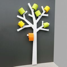 The Pqtier by Presse Citron: A toilet paper holder design and original metal tree-shaped. Very trendy! Toilet Paper Holder Tree, Toilet Paper Trees, Best Toilet Paper, Unique Toilet Paper Holder, Toilet Paper Storage, Paper Holders, Tissue Holders, Loo Roll Holders, Grey Toilet