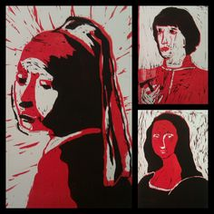 Linocut: the students choose an old portraitpainting wich they reduce to 3 layers: white, red & black. Using the same piece of linoleum they cut the next layer after printing the one before.