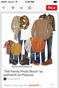 Fall Family Photo Shoot A fashion look from September 2013 featuring crewneck sweaters, v neck t shirts and knit cardigan. Browse and shop related looks. Fall Family Picture Outfits, Family Photo Colors, Family Portrait Outfits, Family Photos What To Wear, Fall Family Photo Outfits, Fall Family Portraits, Fall Family Pictures, Family Pics, Fall Photos