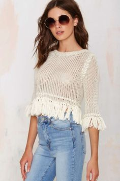 Knitz by For Love and Lemons Denver Fringe Crop Sweater - Pullover   Cropped