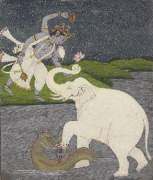 An Illustration from the Bhagavata Purana: Gajendra moksha