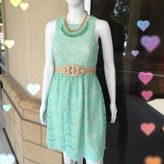 Mint and Lace Dress Taupe Belt Ombre Mint Necklace