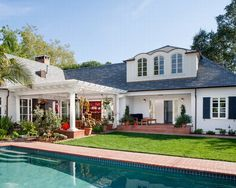 Pool With Red Brick Walkway | Patio and House | 1672