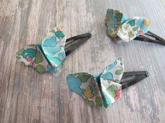 Pince cheveux origamis papillon tissu liberty betsy ,accessoire cheveux origami papillon tissu ,barrettes cheveux : Accessoires coiffure par felicity-fraise