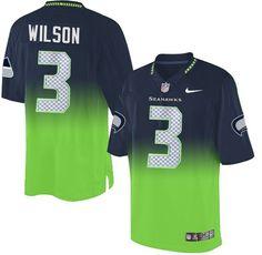 edb58ddfa Men  s Nike Seattle Seahawks  3 Russell Wilson Elite Navy Green Fadeaway
