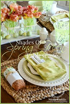 When I think of Spring… I think of GREEN… in all of it's glorious shades and tones!   Today's tablescape pays homage to the beautiful greens of Spring.   Experts say that all greens work well together… and for the most part I find that to be true.    So, I'm playing with …