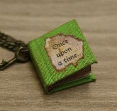 """fairytale little book """"once upon a time"""" necklace with tiny key"""