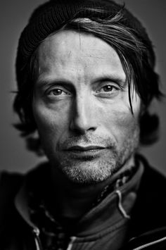 Mads Mikkelsen, Danish, male actor, celeb, powerful face, intense eyes, portrait, photo b/w.