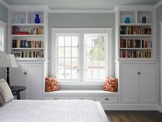 bookshelves in bedroom