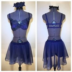"Simple and delicate navy blue 2 piece custom dance costume: ""Essence"""